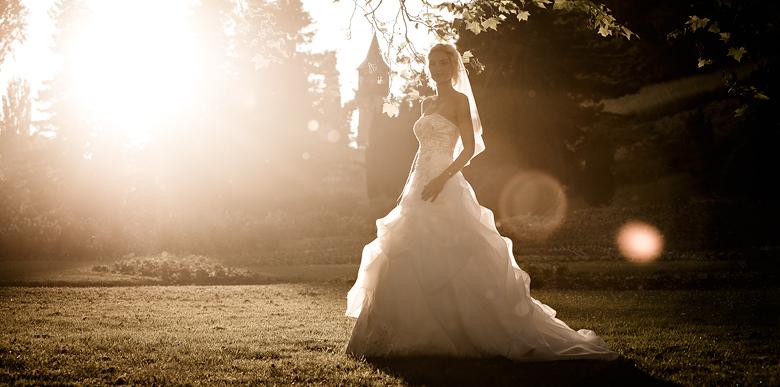 Hochzeitsfoto bei Sonnenuntergang auf der Insel Mainau